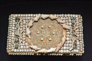 Victorian DATED 1900s Sailors Valentine SeaShell Art Lidded Sewing Box shells