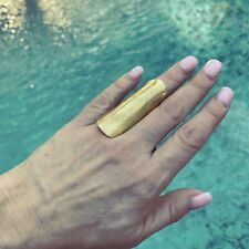 STATEMENT Ring BRASS by MADE Full Finger HANDCRAFTED in Kenya Sz. 7