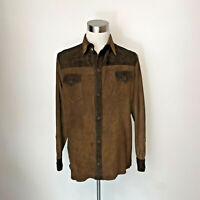 GENUINE LAMBSKIN NAPA SUEDE LEATHER SHIRT BROWN JACKET/ Luxor Leathers & Furs