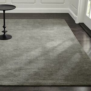 Area Rugs 10' x 14' Baxter Grey Hand Tufted Crate & Barrel Woolen Carpet