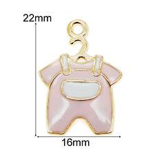 10pcs/lot Gold Alloy Enamel Pink Jumpsuit Cute Baby Cloth Charm Pendants Crafts