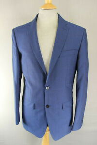 BRAND NEW WOOL RICH BLEND BLUE JACKET: 36 INCH CHEST (LONG FIT)