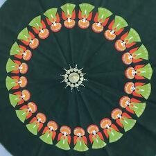 "Vintage SODAHL Denmark Christmas Tablecloth Mid Century Modern 62"" Round Angels"