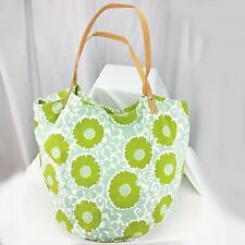 Womens Handbag Tote Bucket ROCK PAPER FLOWER Cotton Turquoise Blue Green Floral