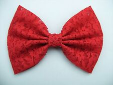 NEW FABRIC HAIR BOW W/ Alligator Clip * Red Lace * Handmade USA * FREE SHIPPING