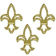Gold Fleur De Lis Applique Patch - Metallic Gold Thread (3-Pack, Iron on)