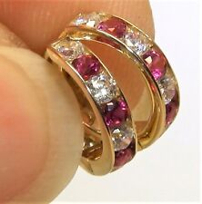 9CT YELLOW GOLD DIAMOND RUBY HOOP EARRINGS 9 CARAT