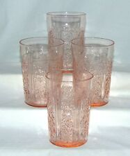"""4 Federal SHARON/CABBAGE ROSE PINK *4 1/8"""" 9 oz THIN WATER TUMBLERS*"""