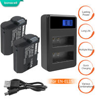 EN-EL15 Battery and Charger for Nikon D600 D610 D750 D7100 D7200 D800 D810 V1 MP