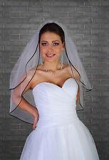 "New Women 2 Tier Ivory Wedding Bridal Elbow Veil Satin Black Edge Length 28"""