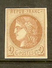 "FRANCE STAMP TIMBRE N° 40B "" CERES BORDEAUX 2c BRUN-ROUGE "" NEUF x TB"