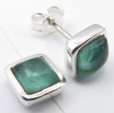 925 Pure Silver GREEN APATITE STUNNING Studs Earrings 0.8 CM NEW JEWELRY STORE