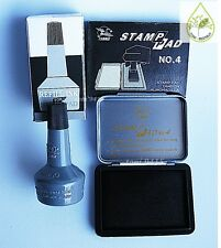 Stamp Pad Black Color Permanent BEST Quality + FREE 1 Refill 28 ml. Black Ink