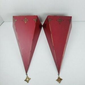 Southern Living At Home Red Sassy Wall Metal Sconce Set  #40404