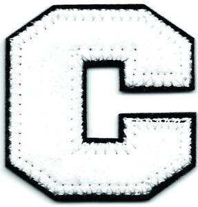 "1 1/2"" Tall White Black Block Letterman's Felt Letter C Iron on Sew on Patch"