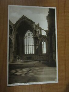 Vintage Unposted East Window from Nave, Melrose Abbey Sepia Postcard