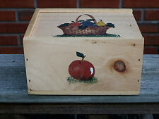 Small Wooden Box With Slide Lid-Hand-Painted Fruit & Basket Design-Elmore, VT