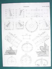 SUN CLOCK Dials Dialling - c. 1833 Fine Quality Print Engraving