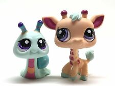 LITTLEST PET SHOP MIXED LOT ~ LPS PINK ORANGE GIRAFFE & BLUE SNAIL PURPLE EYES