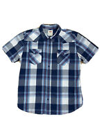 Levis Mens Size XL Button Up Checked Collared Short Sleeves Shirt