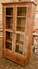 SOLID WOOD RUSTIC CHUNKY PLANK GLAZED DISPLAY CABINET WITH DRAWERS WOODEN UNIT
