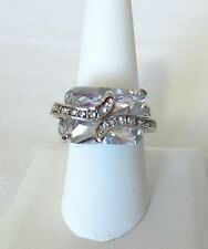 Clear Crystal Square & Rhinestones. Sterling Silver Ring.  Ladies Size 8.5   NWT