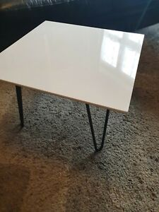 White Acrylic Plastic Coffee Table Hygienic Easy Clean Stylish Living Room Table