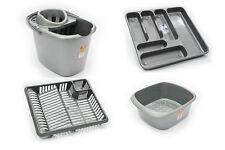 Set di 4 in plastica MOCIO Secchio DISH DRAINER Posate Vassoio rettangolare ciotola d'argento