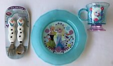 New Disney Store Frozen Mealtime Magic Plastic Plate Elsa Cup Olaf Fork & Spoon