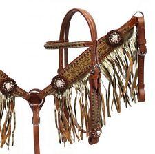 WESTERN BLING! SADDLE HORSE BRIDLE BREAST COLLAR SET W/ METALLIC GOLD FRINGE