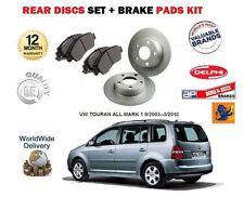 Per VW VOLKSWAGEN TOURAN 2003 -- 3/2010 Nuovo Posteriore Dischi Freno Set & DISC PADS KIT