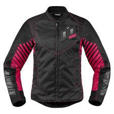 ICON WIREFORM Damen Motorradjacke Sport Textil - schwarz pink