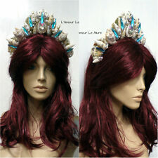 Gold Turquoise Ornate Queen Tiara Mermaid Seashell Shell Crown  Rhinestones