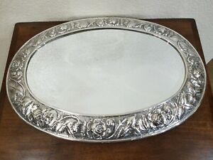 Repousse-Sterling Silver & Mirrored Plateau-Footed