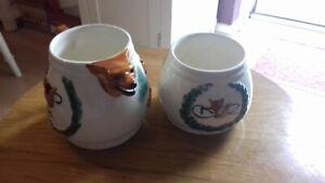 PPC Portland Pottery Sugar bowl & milk/creamer Jug Fox 50's Art Hunting Scene