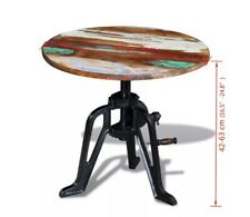 """Side Table Solid Reclaimed Wood Cast Iron 23.6""""x(16.5""""-24.8"""")"""