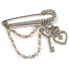 'Heart, Crown, Key & Simulated Pearl Chain' Charm Diamante Safety Pin Brooch