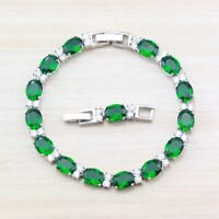 Green Emerald 925 Sterling Silver White Topaz Gemstone Chain Tennis Bracelet