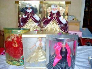 Barbie lot of 5 holidays - Mattel 1993, 1998, 1996, 1996, & Celebration 2000 MIN