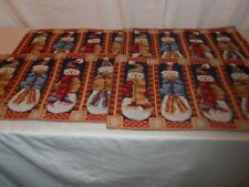 Set of 4 Christmas Holiday Placemats, Snowman, Cloth Fabric Mats