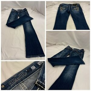 "Miss Me Jeans Sz 25 Dark Bootcut Cotton Stretch 33"" Inseam USA Mint YGI U1-52"