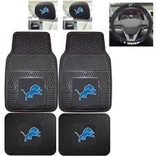 7pc NFL Detroit Lions Heavy Duty Rubber Floor Mats & Steering Wheel Cover