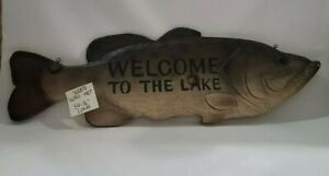 Bass Fish Wood Wall Art  Hand Carved - Welcome To The Lake - Vintage Home décor