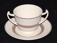 Copeland Spode Mansard ELAINE Brown Double Handled Bouillon Bowl or Cup & Saucer