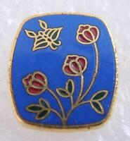 NOS Japanese Cloisonne Button Blue Enamel Background Red Tulips Butterfly
