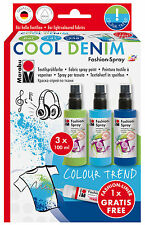 Marabu Moda Spray Set-Pintura en Aerosol para Camisetas de Tela Etc-Cool Denim