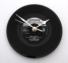 """LOUIS ARMSTRONG Wall CLOCK """"Hello Dolly"""" recycled 7"""" vinyl record"""