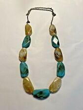 Beaded fashion necklace mod shaped aqua blue & creamy tan faux stone beads
