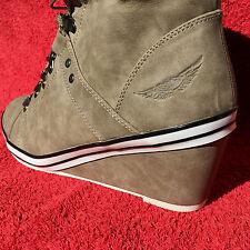 ARIZONA Damen KEILPUMPS Ankle-Boots Stiefelette Schuhe Schnürer in Braun Gr. 40