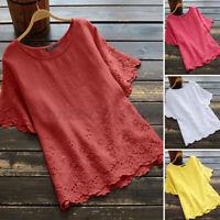 Mode Femme Chemise Manche courte Creux Frill Floral Col Rond Haut Shirt Plus